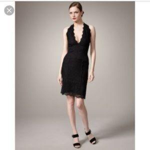 Nicole Miller black scallop lace halter dress L